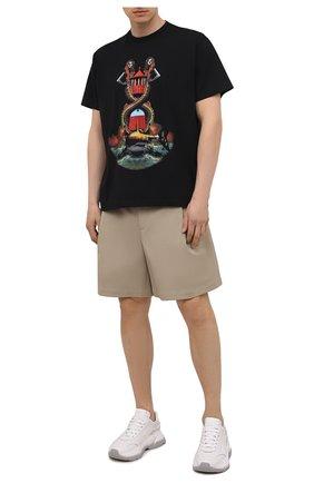 Мужская хлопковая футболка BURBERRY черного цвета, арт. 8040683 | Фото 2