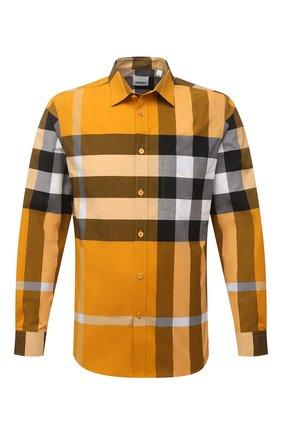 Мужская хлопковая рубашка BURBERRY желтого цвета, арт. 8038657 | Фото 1