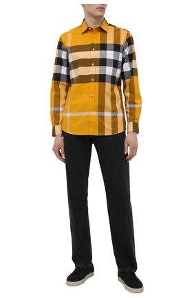 Мужская хлопковая рубашка BURBERRY желтого цвета, арт. 8038657 | Фото 2