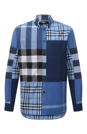 Мужская хлопковая рубашка BURBERRY синего цвета, арт. 8038655 | Фото 1