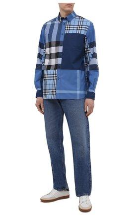 Мужская хлопковая рубашка BURBERRY синего цвета, арт. 8038655 | Фото 2