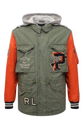 Мужская хлопковая куртка POLO RALPH LAUREN хаки цвета, арт. 710823954 | Фото 1