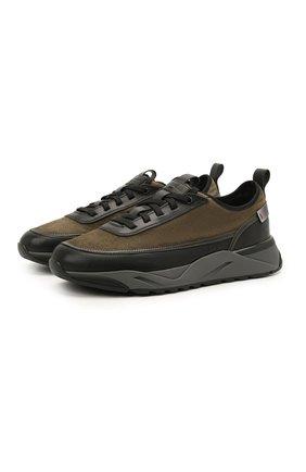 Мужские комбинированные кроссовки SANTONI темно-зеленого цвета, арт. MBI021534ANERLAWV49 | Фото 1