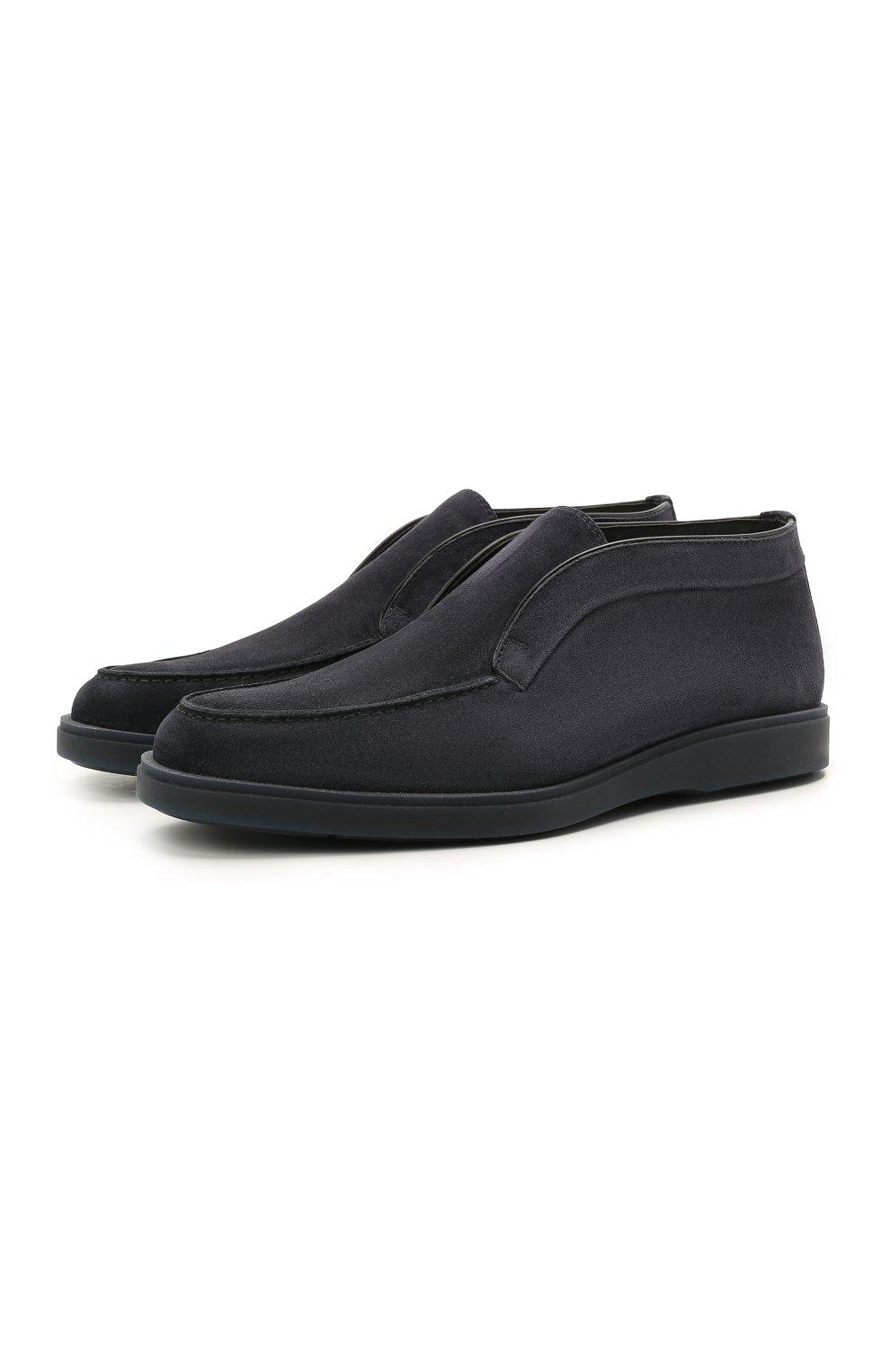 Мужские замшевые ботинки SANTONI темно-синего цвета, арт. MGDG1782300TASVUU60 | Фото 1 (Материал утеплителя: Натуральный мех; Мужское Кросс-КТ: Ботинки-обувь; Подошва: Плоская; Материал внешний: Замша)