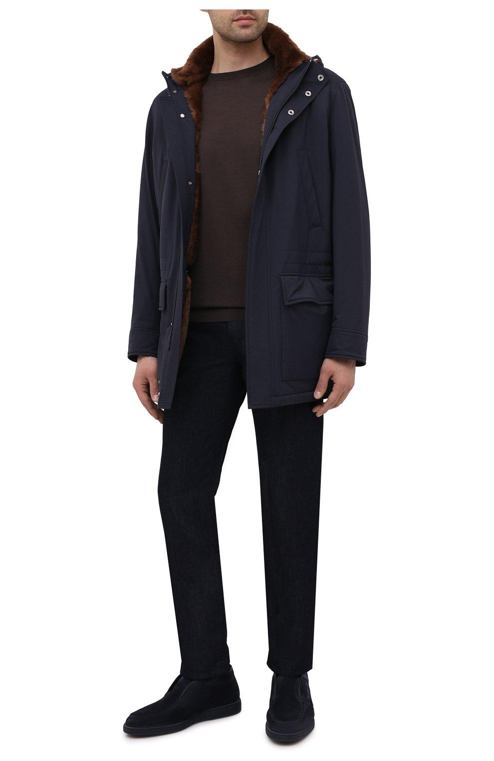 Мужские замшевые ботинки SANTONI темно-синего цвета, арт. MGDG1782300TASVUU60 | Фото 2 (Материал утеплителя: Натуральный мех; Мужское Кросс-КТ: Ботинки-обувь; Подошва: Плоская; Материал внешний: Замша)