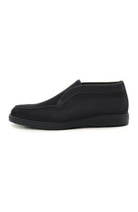 Мужские замшевые ботинки SANTONI темно-синего цвета, арт. MGDG1782300TASVUU60 | Фото 3 (Материал утеплителя: Натуральный мех; Мужское Кросс-КТ: Ботинки-обувь; Подошва: Плоская; Материал внешний: Замша)