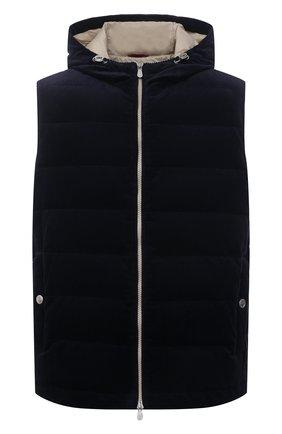 Мужской пуховый жилет BRUNELLO CUCINELLI темно-синего цвета, арт. MQ4361715 | Фото 1