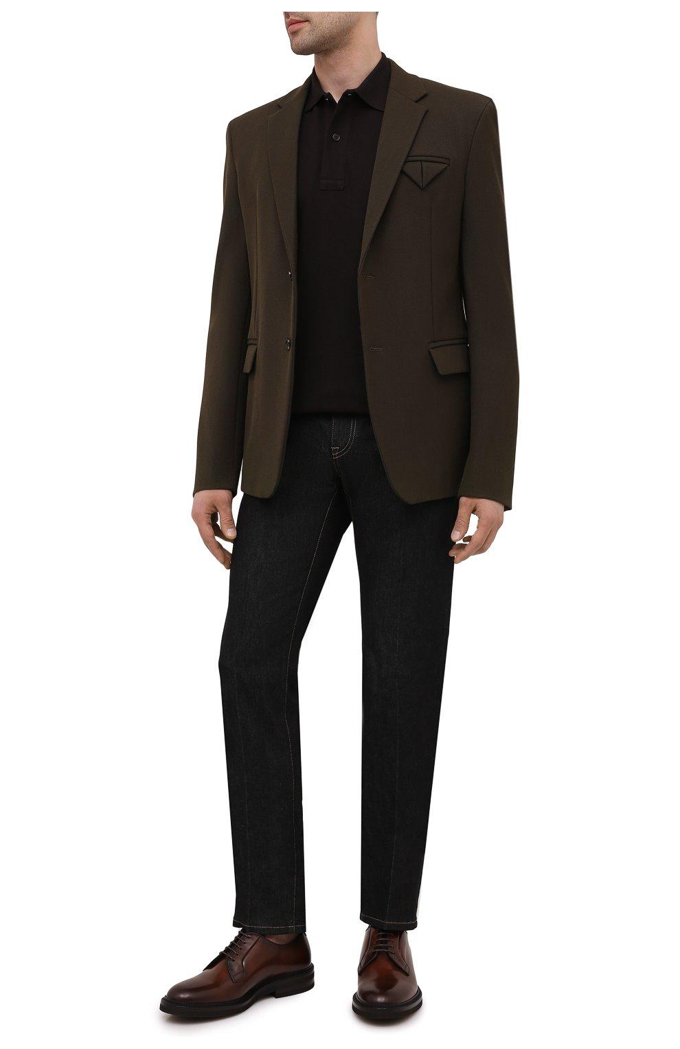 Мужские кожаные дерби BRUNELLO CUCINELLI коричневого цвета, арт. MZUVA0K810   Фото 2