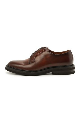 Мужские кожаные дерби BRUNELLO CUCINELLI коричневого цвета, арт. MZUVA0K810   Фото 3