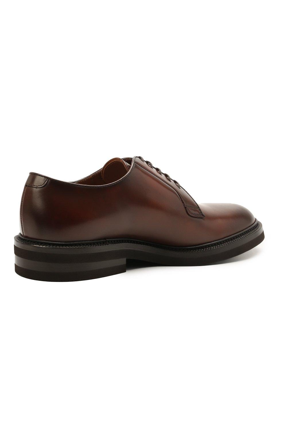 Мужские кожаные дерби BRUNELLO CUCINELLI коричневого цвета, арт. MZUVA0K810   Фото 4