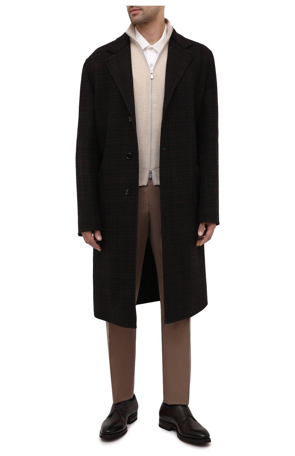 Мужские кожаные дерби MAGNANNI темно-коричневого цвета, арт. 21251/RUG0ARCADE   Фото 2 (Материал внутренний: Натуральная кожа; Стили: Классический)