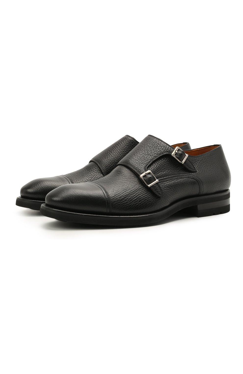 Мужские кожаные монки MAGNANNI черного цвета, арт. 21253/RUG0ARCADE | Фото 1 (Материал внутренний: Натуральная кожа; Стили: Классический)