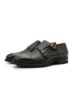 Мужские кожаные монки MAGNANNI черного цвета, арт. 21253/RUG0ARCADE | Фото 1