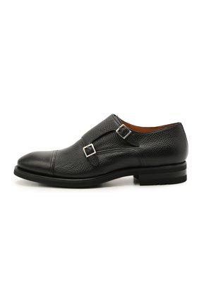 Мужские кожаные монки MAGNANNI черного цвета, арт. 21253/RUG0ARCADE | Фото 3 (Материал внутренний: Натуральная кожа; Стили: Классический)