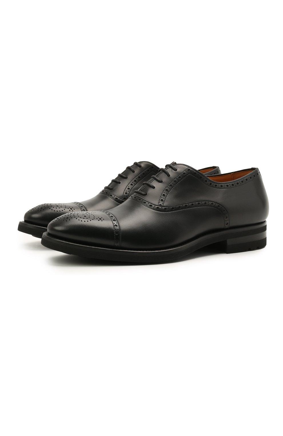 Мужские кожаные оксфорды MAGNANNI черного цвета, арт. 21255/B0LTIARCADE | Фото 1 (Мужское Кросс-КТ: Броги-обувь; Материал внутренний: Натуральная кожа; Стили: Классический)