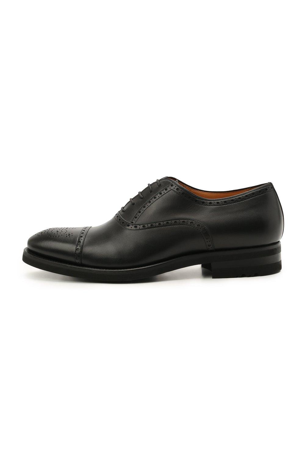 Мужские кожаные оксфорды MAGNANNI черного цвета, арт. 21255/B0LTIARCADE | Фото 3 (Мужское Кросс-КТ: Броги-обувь; Материал внутренний: Натуральная кожа; Стили: Классический)