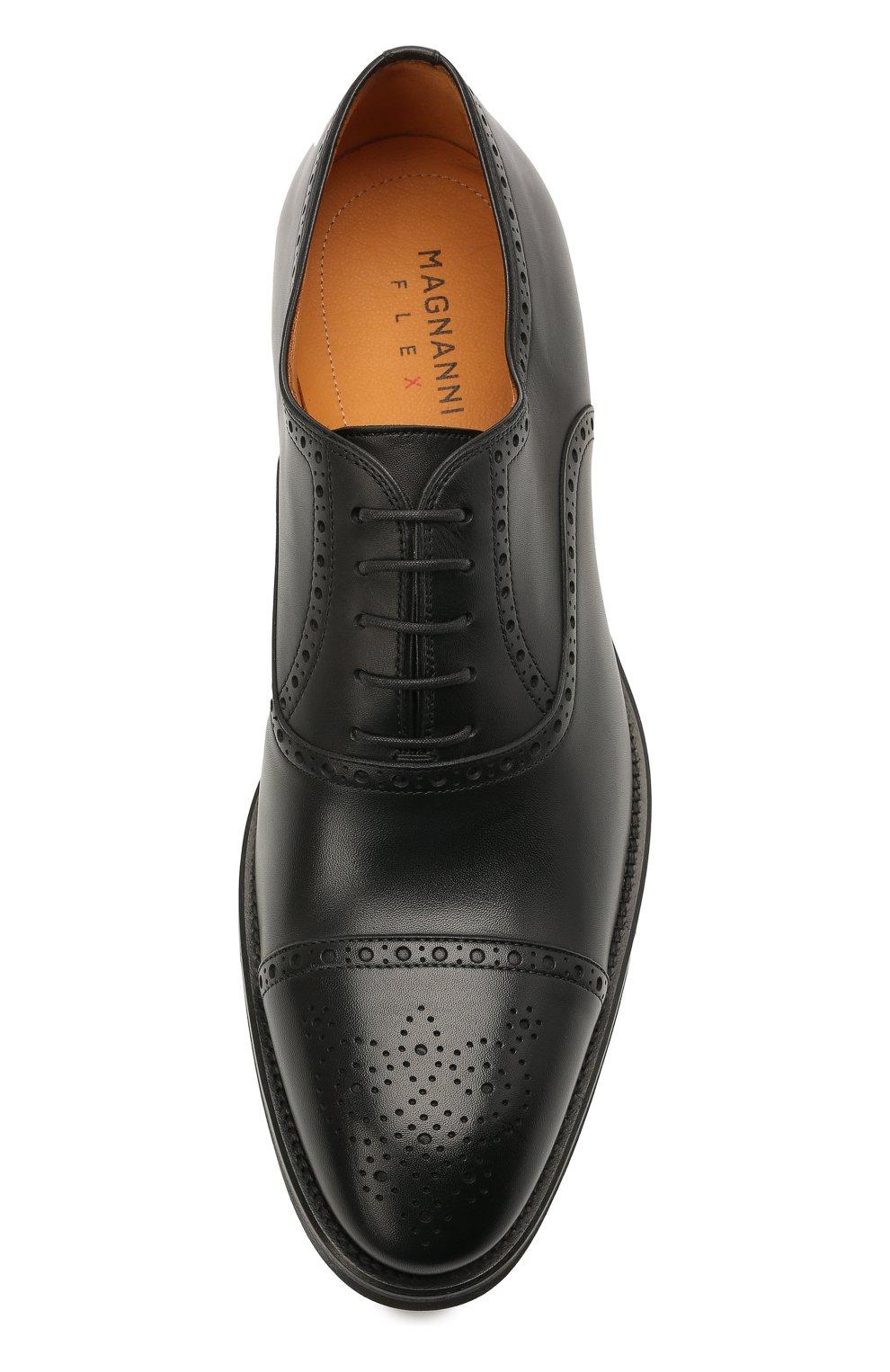 Мужские кожаные оксфорды MAGNANNI черного цвета, арт. 21255/B0LTIARCADE | Фото 5 (Мужское Кросс-КТ: Броги-обувь; Материал внутренний: Натуральная кожа; Стили: Классический)