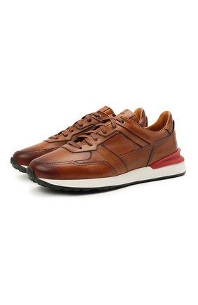 Мужские кожаные кроссовки MAGNANNI коричневого цвета, арт. 22926/B0LTAN   Фото 1 (Материал внутренний: Натуральная кожа; Стили: Классический; Подошва: Массивная)