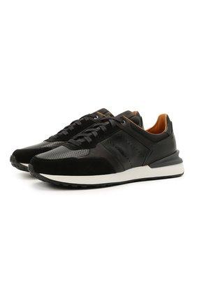 Мужские кожаные кроссовки MAGNANNI черного цвета, арт. 23728/CR0STA/B0LTAN | Фото 1
