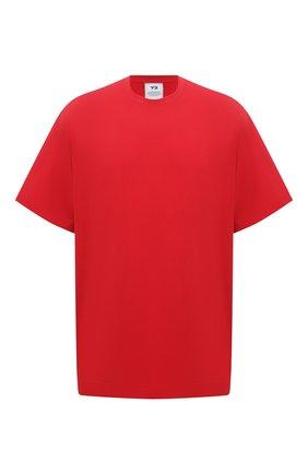 Мужская хлопковая футболка Y-3 красного цвета, арт. GV4187/M | Фото 1 (Стили: Спорт-шик; Материал внешний: Хлопок; Рукава: Короткие; Принт: С принтом; Длина (для топов): Удлиненные)