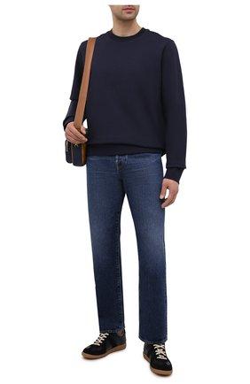 Мужской хлопковый свитшот Y-3 темно-синего цвета, арт. FN3373/M | Фото 2 (Принт: Без принта; Мужское Кросс-КТ: свитшот-одежда; Длина (для топов): Стандартные; Материал внешний: Хлопок; Рукава: Длинные; Стили: Минимализм)