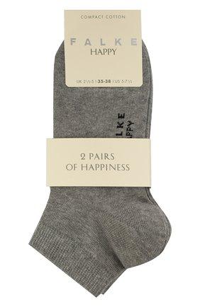 Женские комплект из двух пар носков FALKE серого цвета, арт. 46418 (2 шт) | Фото 1 (Материал внешний: Хлопок)