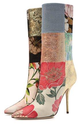 Женские текстильные сапоги cardinale DOLCE & GABBANA разноцветного цвета, арт. CT0735/A0657 | Фото 1 (Подошва: Плоская; Высота голенища: Средние; Каблук тип: Шпилька; Материал внешний: Текстиль; Каблук высота: Высокий; Материал внутренний: Натуральная кожа)