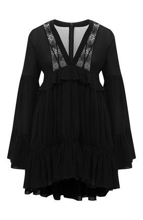 Женское шелковое платье SAINT LAURENT черного цвета, арт. 646168/Y3C07   Фото 1