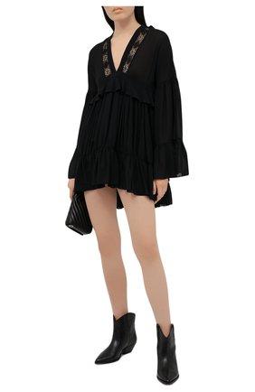 Женское шелковое платье SAINT LAURENT черного цвета, арт. 646168/Y3C07   Фото 2
