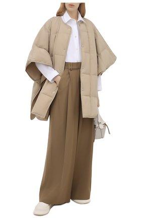 Женская пуховая куртка JIL SANDER бежевого цвета, арт. JPPS440194-WS460800 | Фото 2 (Стили: Кэжуэл; Кросс-КТ: Куртка, Пуховик; Материал внешний: Синтетический материал; Материал подклада: Синтетический материал; Материал утеплителя: Пух и перо; Длина (верхняя одежда): До середины бедра; Рукава: 3/4)