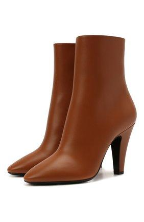 Женские кожаные ботильоны 68 SAINT LAURENT коричневого цвета, арт. 658151/2W700 | Фото 1 (Материал внутренний: Натуральная кожа; Каблук тип: Устойчивый; Каблук высота: Высокий; Подошва: Плоская)