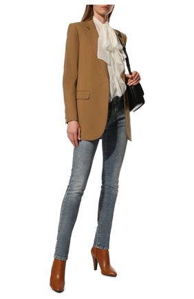 Женские кожаные ботильоны 68 SAINT LAURENT коричневого цвета, арт. 658151/2W700 | Фото 2 (Материал внутренний: Натуральная кожа; Каблук тип: Устойчивый; Каблук высота: Высокий; Подошва: Плоская)