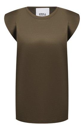 Женская хлопковая футболка ERIKA CAVALLINI хаки цвета, арт. S1/P/P1SK03 | Фото 1