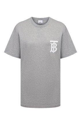 Женская хлопковая футболка BURBERRY серого цвета, арт. 8029462 | Фото 1