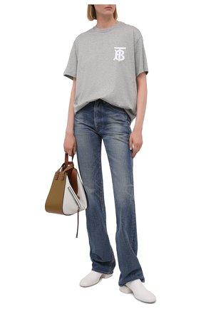 Женская хлопковая футболка BURBERRY серого цвета, арт. 8029462 | Фото 2