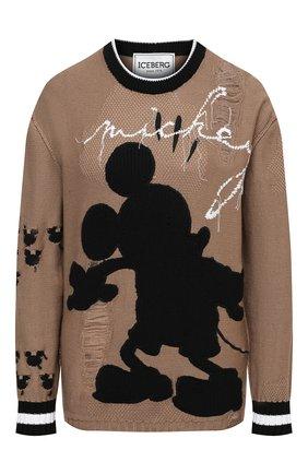 Женский хлопковый пуловер ICEBERG темно-бежевого цвета, арт. 21E I2P0/A014/7503 | Фото 1