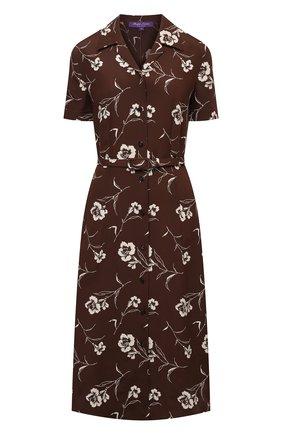 Женское шелковое платье RALPH LAUREN коричневого цвета, арт. 290840866 | Фото 1 (Материал внешний: Шелк; Случай: Повседневный; Стили: Кэжуэл; Длина Ж (юбки, платья, шорты): Миди; Рукава: Короткие; Женское Кросс-КТ: платье-рубашка, Платье-одежда)