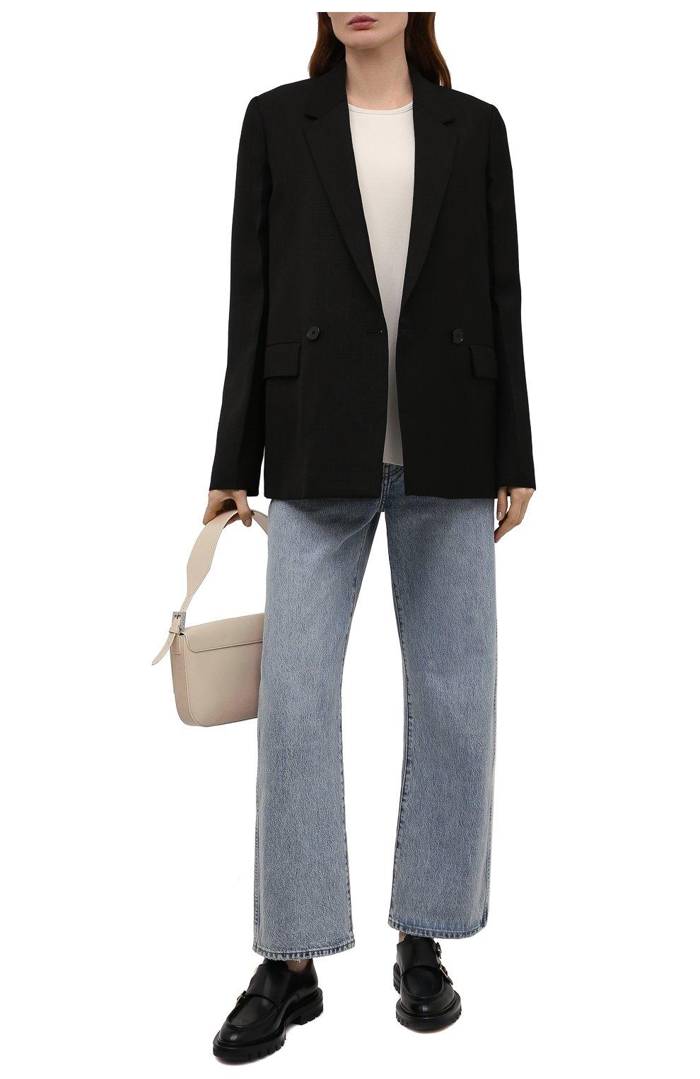 Женская кожаные монки SANTONI черного цвета, арт. WUCU59605HL1NLESN01 | Фото 2