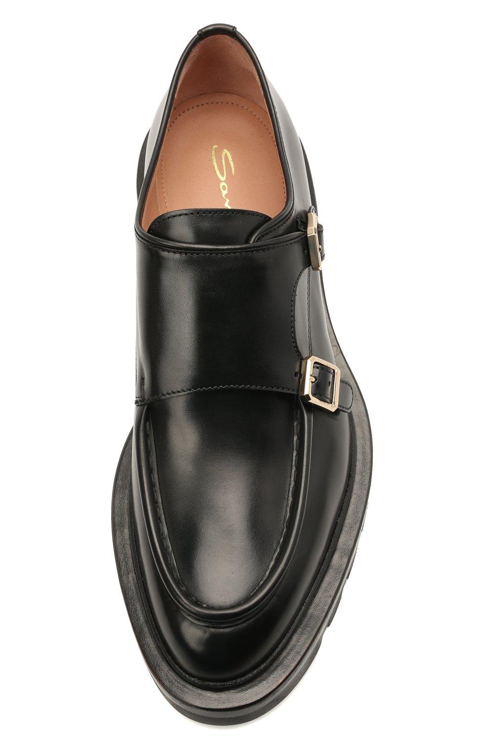 Женская кожаные монки SANTONI черного цвета, арт. WUCU59605HL1NLESN01 | Фото 5