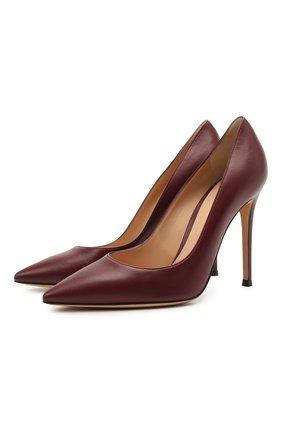 Женские кожаные туфли GIANVITO ROSSI бордового цвета, арт. G28470.15RIC.NAPMERL | Фото 1