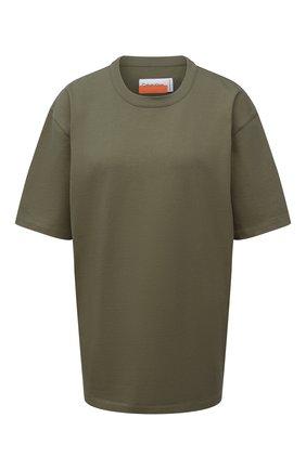 Женская хлопковая футболка HERON PRESTON FOR CALVIN KLEIN хаки цвета, арт. K10K108252   Фото 1