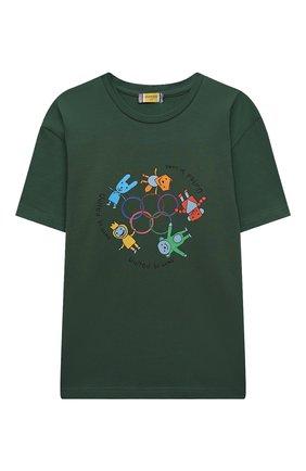 Детская хлопковая футболка MUMOFSIX зеленого цвета, арт. MOSSS21_TS | Фото 1