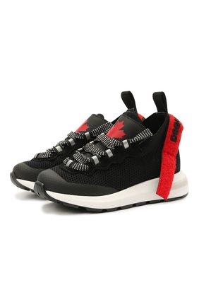 Детские кроссовки DSQUARED2 черного цвета, арт. 68554/T0MAIA/CR0STA/SCUBA/28-35 | Фото 1