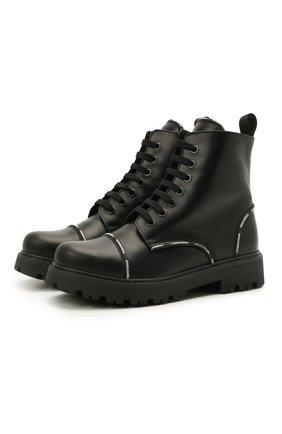 Детские кожаные ботинки DSQUARED2 черного цвета, арт. 68587/RUNNER/36-41 | Фото 1