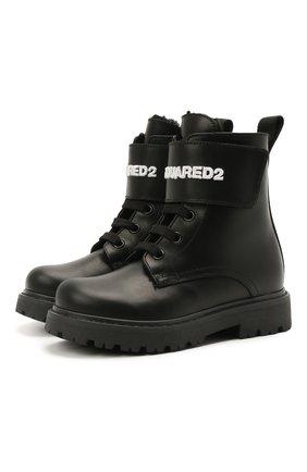Детские кожаные ботинки DSQUARED2 черного цвета, арт. 68588/RUNNER/18-27 | Фото 1