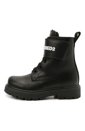 Детские кожаные ботинки DSQUARED2 черного цвета, арт. 68588/RUNNER/18-27 | Фото 2