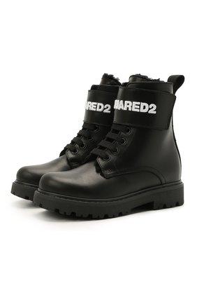 Детские кожаные ботинки DSQUARED2 черного цвета, арт. 68588/RUNNER/28-35 | Фото 1