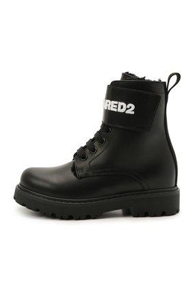 Детские кожаные ботинки DSQUARED2 черного цвета, арт. 68588/RUNNER/28-35 | Фото 2