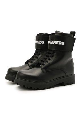 Детские кожаные ботинки DSQUARED2 черного цвета, арт. 68588/RUNNER/36-41 | Фото 1