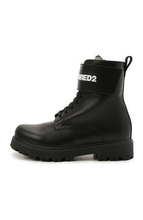 Детские кожаные ботинки DSQUARED2 черного цвета, арт. 68588/RUNNER/36-41 | Фото 2